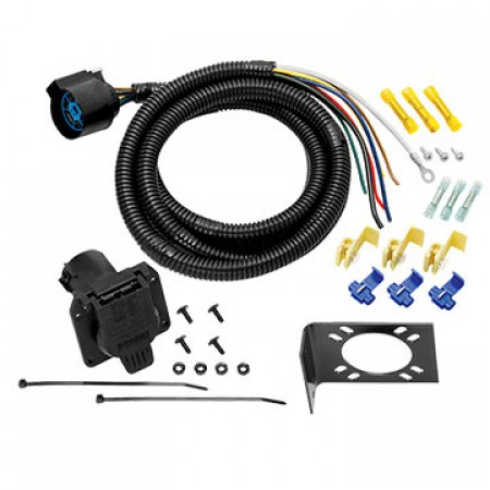7-Way RV Round Tow Plug Harness Trailer Wiring Harness, U.S. Car Connector, 7 ft
