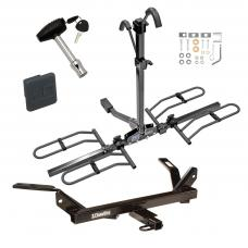 Trailer Tow Hitch For 95-05 Chevy Cavalier Pontiac Sunfire Platform Style 2 Bike Rack w/ Hitch Lock and Cover