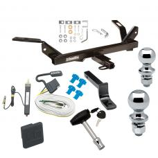 "Trailer Tow Hitch For 95-05 Chevy Cavalier Pontiac Sunfire Deluxe Package Wiring 2"" and 1-7/8"" Ball and Lock"