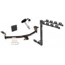 Trailer Tow Hitch w/ 4 Bike Rack For 08-13 Scion xB 11-13 tC Except Release Series tilt away adult or child arms fold down carrier w/ Lock and Cover