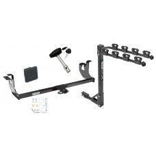 Trailer Tow Hitch w/ 4 Bike Rack For 10-14 Volkswagen Golf 06-09 GTI Rabbit tilt away adult or child arms fold down carrier w/ Lock and Cover