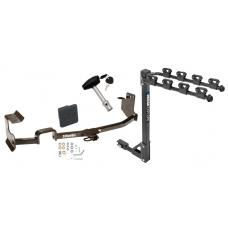 Trailer Tow Hitch w/ 4 Bike Rack For 09-13 Nissan Cube tilt away adult or child arms fold down carrier w/ Lock and Cover