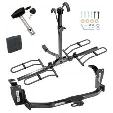 Trailer Tow Hitch For 10-11 Honda Accord Crosstour 12-15 Crosstour Platform Style 2 Bike Rack w/ Hitch Lock and Cover