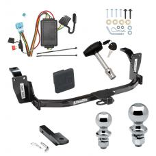 "Trailer Tow Hitch For 10-12 Honda Accord Crosstour Deluxe Package Wiring 2"" and 1-7/8"" Ball and Lock"