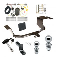 """Trailer Tow Hitch For 11-13 Ford Fiesta 5 Dr. Hatchback Deluxe Package Wiring 2"""" and 1-7/8"""" Ball and Lock"""