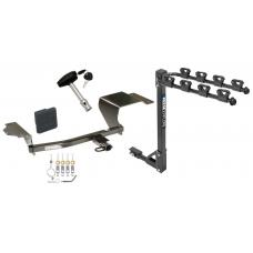 Trailer Tow Hitch w/ 4 Bike Rack For 11-14 Mazda 2 tilt away adult or child arms fold down carrier w/ Lock and Cover