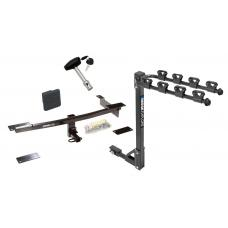 Trailer Tow Hitch w/ 4 Bike Rack For 12-19 FIAT 500 Except Abarth tilt away adult or child arms fold down carrier w/ Lock and Cover