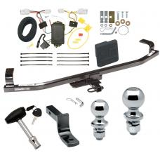 """Trailer Tow Hitch For 12-16 KIA Rio 5 Dr. Hatchback Deluxe Package Wiring 2"""" and 1-7/8"""" Ball and Lock"""