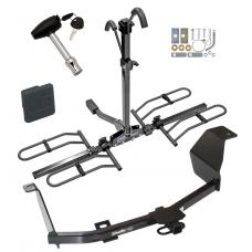 Trailer Tow Hitch For 12-17 Nissan Versa 4 Dr. Sedan Platform Style 2 Bike Rack w/ Hitch Lock and Cover