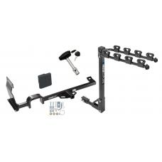 Trailer Tow Hitch w/ 4 Bike Rack For 11-17 Nissan JUKE FWD Except Nismo and RS tilt away adult or child arms fold down carrier w/ Lock and Cover