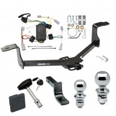 "Trailer Tow Hitch For 08-12 Honda Accord 09-14 Acura TSX Deluxe Package Wiring 2"" and 1-7/8"" Ball and Lock"