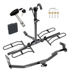 Trailer Tow Hitch For 14-18 Kit Forte 4 Dr. Sedan Platform Style 2 Bike Rack w/ Hitch Lock and Cover