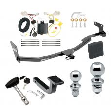"""Trailer Tow Hitch For 14-18 Kia Forte 4 Dr. Sedan Deluxe Package Wiring 2"""" and 1-7/8"""" Ball and Lock"""