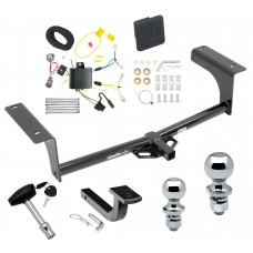 """Trailer Tow Hitch For 14-17 Mazda 6 4 Dr. Sedan Deluxe Package Wiring 2"""" and 1-7/8"""" Ball and Lock"""
