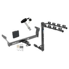 Trailer Tow Hitch w/ 4 Bike Rack For 14-20 Infiniti Q50 tilt away adult or child arms fold down carrier w/ Lock and Cover