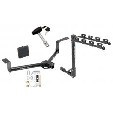 Trailer Tow Hitch w/ 4 Bike Rack For 16-20 Honda HR-V tilt away adult or child arms fold down carrier w/ Lock and Cover