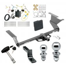 """Trailer Tow Hitch For 17-18 Toyota Yaris iA 16 Scion iA Deluxe Package Wiring 2"""" and 1-7/8"""" Ball and Lock"""