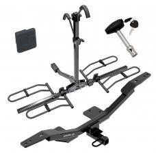 Trailer Tow Hitch For 09-19 Audi A4 4 Dr. Sedan Platform Style 2 Bike Rack w/ Hitch Lock and Cover