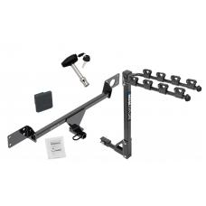 Trailer Tow Hitch w/ 4 Bike Rack For 15-21 Mercedes-Benz C300 Sedan Except Sport Package tilt away adult or child arms fold down carrier w/ Lock and Cover