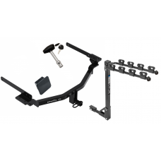 Trailer Tow Hitch w/ 4 Bike Rack For 18-20 KIA Stinger tilt away adult or child arms fold down carrier w/ Lock and Cover