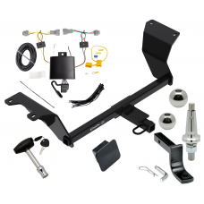 "Trailer Tow Hitch For 18-19 Nissan Kicks Ultimate Package w/ Wiring Draw Bar Kit Interchangeable 2"" 1-7/8"" Balls Lock and Cover"