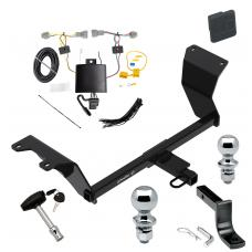 """Trailer Tow Hitch For 18-19 Nissan Kicks Deluxe Package Wiring 2"""" and 1-7/8"""" Ball and Lock"""