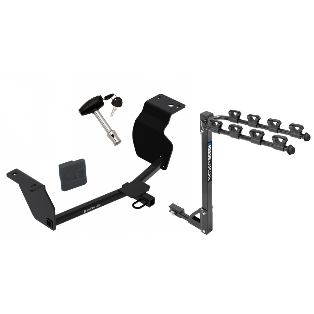 Trailer Tow Hitch W 4 Bike Rack For 2020 Toyota Corolla Sedan Tilt Away Adult Or Child Arms Fold Down Carrier W Lock And Cover