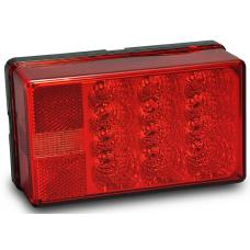 Wesbar LED Waterproof Trailer Taillight 8-Function Left/Roadside 4X6 Low Profile Red Lens