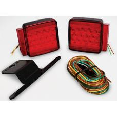 Wesbar Complete LED Trailer Taillight Kit Submersible Under 80in w/25ft Wire Harness