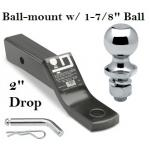 "Class 3 Ball-mount Combo w/ 2"" Drop and 1-7/8"" Trailer Hitch Ball fits 2"" Receiver"