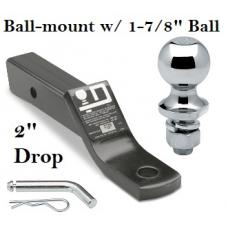 """Class 3 Ball-mount Combo w/ 2"""" Drop and 1-7/8"""" Trailer Hitch Ball fits 2"""" Receiver"""