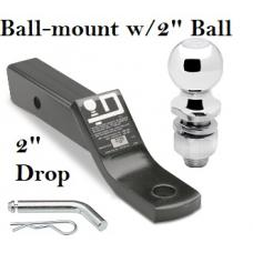 """Class 3 Ball-mount Combo w/ 2"""" Drop and 2"""" Trailer Hitch Ball fits 2"""" Receiver"""
