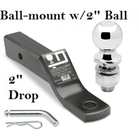 "Class 3 Ball-mount Combo w/ 2"" Drop and 2"" Trailer Hitch Ball fits 2"" Receiver"