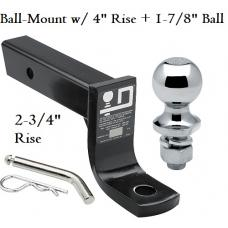 """Class 3 Ball-mount Combo w/ 4"""" Drop and 1-7/8"""" Trailer Hitch Ball fits 2"""" Receiver"""