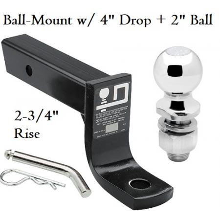 """Class 3 Ball-mount Combo w/ 4"""" Drop and 2"""" Trailer Hitch Ball fits 2"""" Receiver"""
