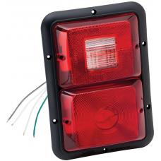 Bargman Double Trailer Taillight Vertical Mount w/ Backup 84 Series Recessed Red w/ Black Base RV
