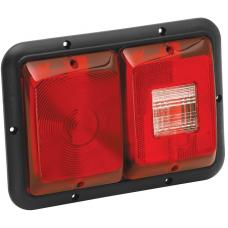 Bargman Double Trailer Taillight Horizontal Mount w/ Backup 84 Series Recessed Red w/ Black Base RV