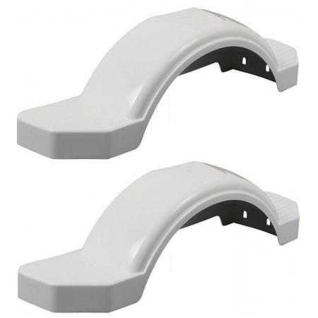 "Set of 2 White Fulton Single Axle Trailer Fenders 12"" Wheels Triple Step 33-1/2"" Long Boat Utility Sale Replacement"