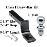 "Class 1 Drawbar kit w/ 2"" Trailer Hitch Ball 2-1/8"" Rise 2-3/4"" Drop 1-1/4"" Receiver Mount"