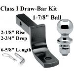 "Class 1 Drawbar kit w/ 1-7/8"" Trailer Hitch Ball 2-1/8"" Rise 2-3/4"" Drop 1-1/4"" Receiver Mount"
