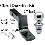 "Class 1 Drawbar kit w/ 2"" Trailer Hitch Ball 2-1/8"" Rise 2-3/4"" Drop 1-1/4"" Mount Receiver"