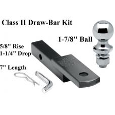 "Class 2 Drawbar kit w/ 1-7/8"" Trailer Hitch Ball 5/8"" Rise 1-1/4"" Receiver Mount"