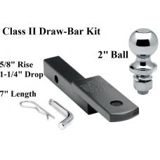 "Class 2 Drawbar kit w/ 2"" Trailer Hitch Ball 5/8"" Rise 1-1/4"" Receiver Mount"
