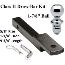 "Class 2 Drawbar kit w/ 1-7/8"" Trailer Hitch Ball 5/8"" Rise 1-1/4"" Mount Receiver"