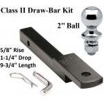 "Class 2 Drawbar kit w/ 2"" Trailer Hitch Ball 5/8"" Rise 1-1/4"" Mount Receiver"