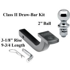 "Class 2 Drawbar kit w/ 2"" Trailer Hitch Ball 3-1/8"" Rise 1-1/4"" Receiver Mount"