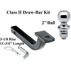 "Class 2 Drawbar kit w/ 2"" Trailer Hitch Ball 3-1/8"" Rise 1-1/4"" Mount Receiver"