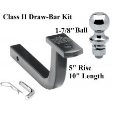 "Class 2 Drawbar kit w/ 1-7/8"" Trailer Hitch Ball 5"" Rise 1-1/4"" Receiver Mount"