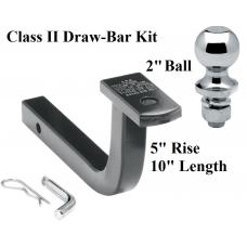 "Class 2 Drawbar kit w/ 2"" Trailer Hitch Ball 5"" Rise 1-1/4"" Receiver Mount"