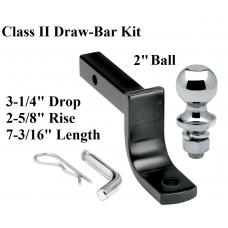 "Class 2 Drawbar kit w/ 2"" Trailer Hitch Ball 2-5/8"" Rise 3-1/4"" Drop Receiver Mount"